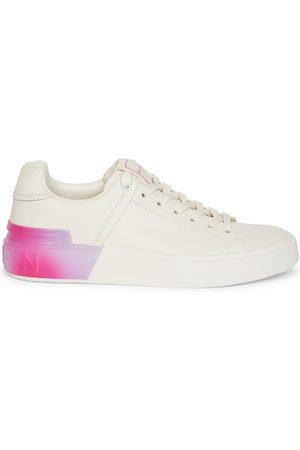 Balmain Women's B-Court Fluorescent-Trim Leather Sneakers - - Size 8