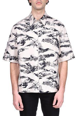 Givenchy Men's Short-Sleeve Printed Zip-Front Shirt - Natural - Size 15.5