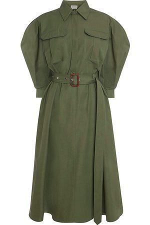 Alexander McQueen Women's Military Puff-Sleeve Shirtdress - Khaki - Size 8