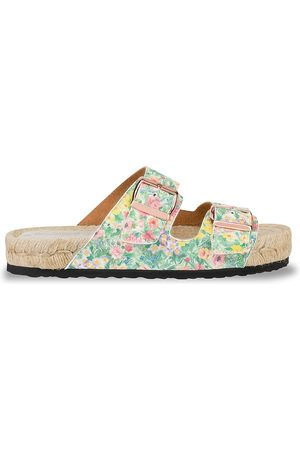 MANEBI Women's Loveshackfancy x Nordic Floral Leather Espadrille Slides - Rainbow - Size 11 Sandals