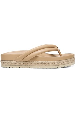 Vince Women's Forest Leather Thong Espadrille Platform Sandals - Cappuccino - Size 9