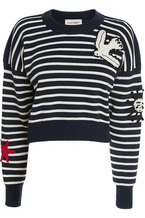 Alexander McQueen Women's Embroidered Graphic Striped Pullover - Navy Ivory - Size XL