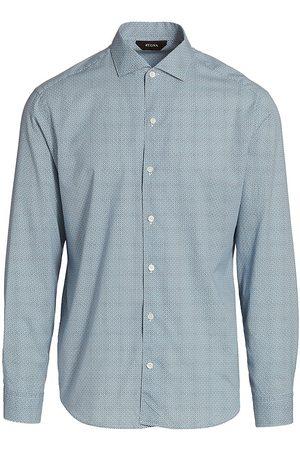 Z Zegna Men's Printed Button-Up Shirt - Bright Stripe - Size 16.5