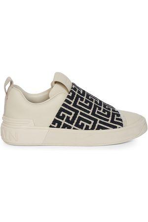 Balmain Women Sports Shoes - Women's B-Court Monogram Jacquard-Trimmed Leather Sneakers - Ivory Noir - Size 11