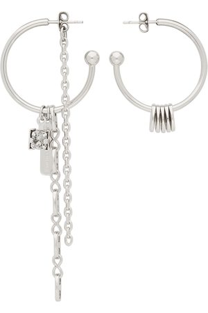 Justine Clenquet Women Earrings - SSENSE Exclusive Silver & Grey Sam Earrings