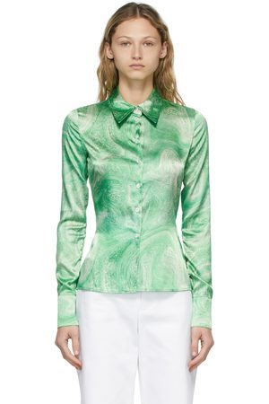 Opening Ceremony Women Shirts - Green Allover Marble Shirt