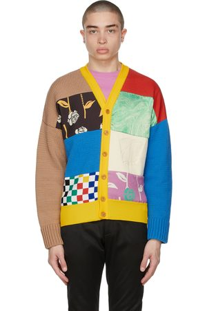 Opening Ceremony Men Cardigans - Patchwork Dropped Cardigan