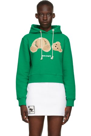 Palm Angels Green Bear Fitted Hoodie