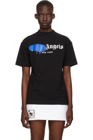 Palm Angels Black & Blue Sprayed Logo 'New York' T-Shirt