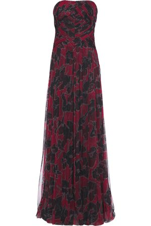 Halston Heritage Woman Strapless Pleated Floral-print Tulle Gown Claret Size 2