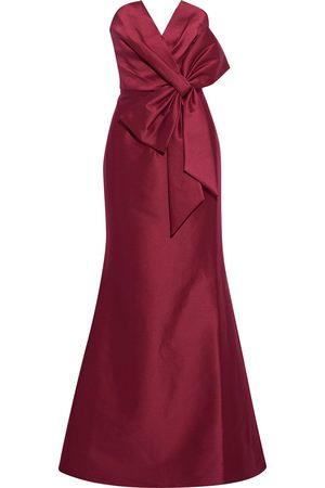 Badgley Mischka Women Strapless Dresses - Woman Strapless Bow-embellished Duchesse-satin Gown Claret Size 10