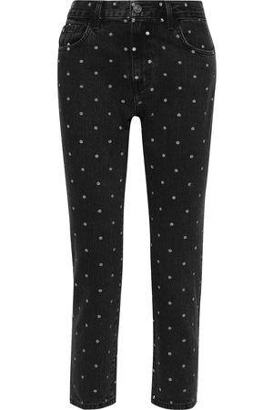 Current/Elliott Woman The Vintage Cropped Polka-dot High-rise Straight-leg Jeans Size 28