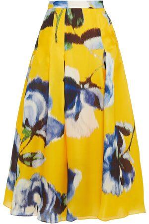 CAROLINA HERRERA Woman Pleated Floral-print Silk-organza Maxi Skirt Size 2