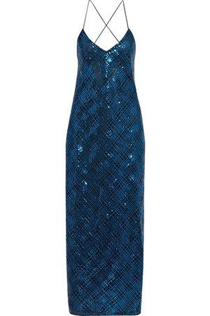Michelle Mason Women Casual Dresses - Woman Open-back Sequined Tulle Maxi Slip Dress Cobalt Size 0