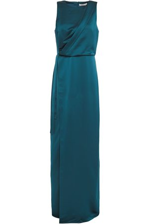 Halston Heritage Woman Wrap-effect Draped Hammered-satin Gown Petrol Size 0