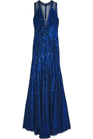 Jenny Packham Woman Fluted Sequined Tulle Gown Size 10