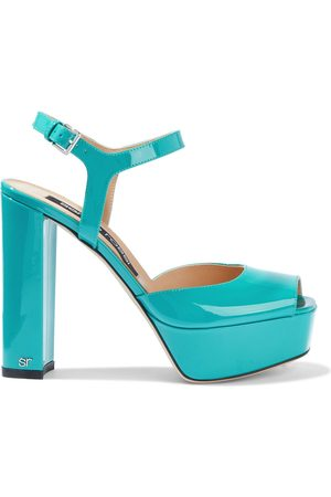 Sergio Rossi Woman Sr Milano 90 Patent-leather Platform Sandals Turquoise Size 35