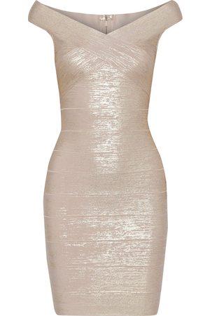 Hervé Léger Hervé Léger Woman Metallic Bandage Mini Dress Rose Size M