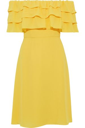 MIKAEL AGHAL Women Strapless Dresses - Woman Off-the-shoulder Tiered Crepe Dress Size 10