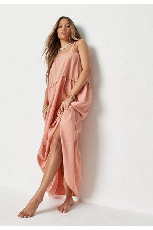 Missguided Women Maxi Dresses - Peach Linen Look Panelled Beach Cover Up Maxi Dress