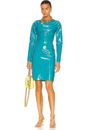 Bottega Veneta Patent Stretch Leather Dress in Green