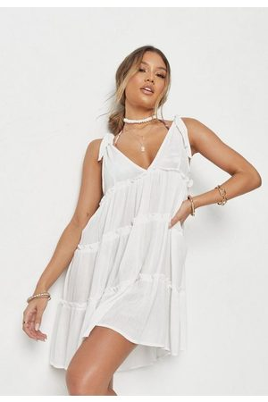 Missguided Cheesecloth Tie Shoulder Panel Beach Cover Up Dress