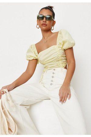 Missguided Women Crop Tops - Lemon Poplin Ruched Front Crop Top