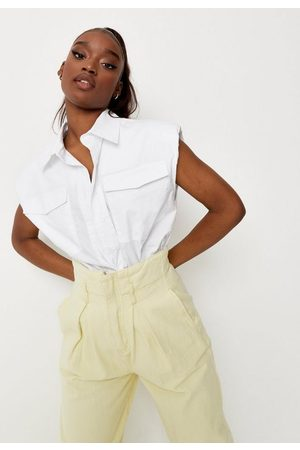 Missguided Women Shirts - Petite Shoulder Pad Sleeveless Shirt