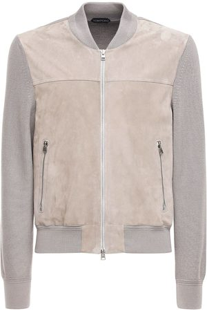 Tom Ford Men Leather Jackets - Suede & Wool Knit Jacket