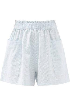 Casa Raki Women Shorts - Emilia Gingham Organic-cotton Wide-leg Shorts - Womens - Light
