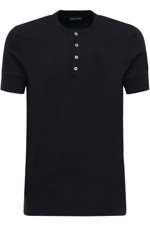 Tom Ford Men T-shirts - Marl Cotton Jersey Henley T-shirt