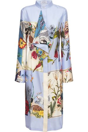 Salvatore Ferragamo Women Printed Dresses - Printed Patchwork Silk Midi Dress
