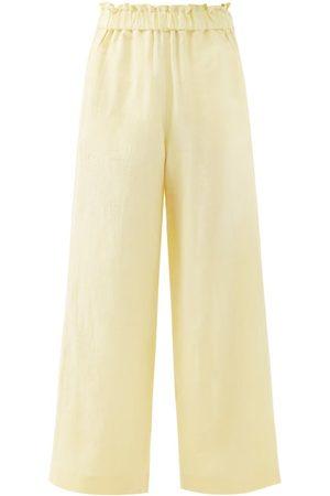 Casa Raki Women Wide Leg Pants - Natalia Organic-linen Wide-leg Trousers - Womens