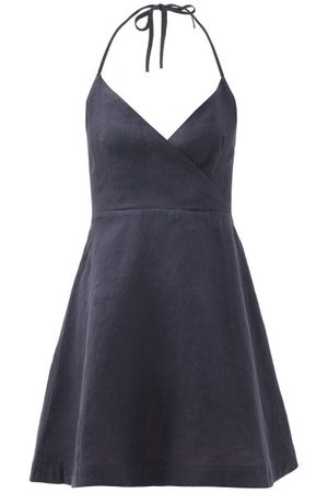 Casa Raki Women Party Dresses - Ofelia Back-ties Organic-linen Mini Dress - Womens - Navy