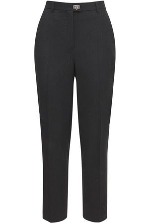 Salvatore Ferragamo Women Straight Leg Pants - Wool Straight Leg Crop Pants