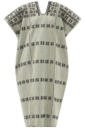 PIPPA HOLT Women Beach Dresses - No.268 Embroidered Striped Cotton Kaftan - Womens - Khaki