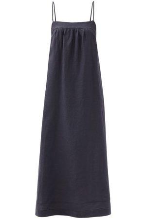 Casa Raki Vicky Tie-back Organic-linen Dress - Womens - Navy