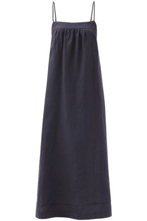 Casa Raki Women Midi Dresses - Vicky Tie-back Organic-linen Dress - Womens - Navy