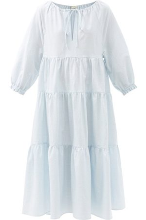 Casa Raki Women Midi Dresses - Josefina Tiered Checked Organic-cotton Midi Dress - Womens - Light