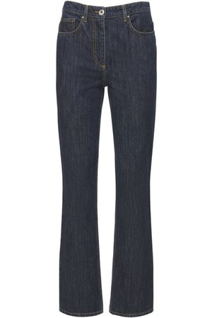 Salvatore Ferragamo Cotton Jeans W/ Leather Pockets
