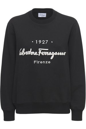 Salvatore Ferragamo Women Sweatshirts - Logo Cotton Jersey Crewneck Sweatshirt
