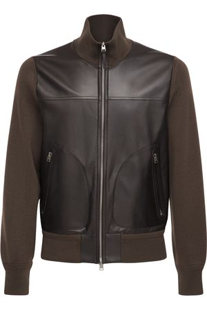 Tom Ford Men Leather Jackets - Leather & Wool Knit Jacket