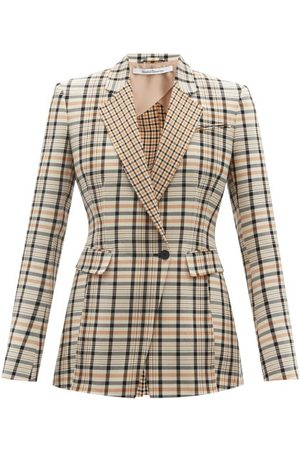 Another Tomorrow Women Blazers - Single-breasted Checked Cotton-blend Twill Jacket - Womens - Tan