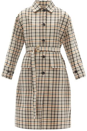 Another Tomorrow Women Trench Coats - Reversible Checked Organic-cotton Trench Coat - Womens - Tan