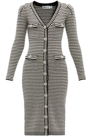 Self-Portrait Striped Cotton-blend Cardigan Dress - Womens