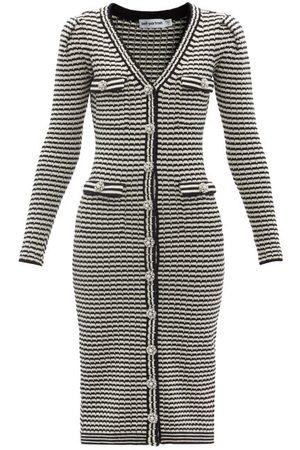 Self-Portrait Women Knitted Dresses - Striped Cotton-blend Cardigan Dress - Womens