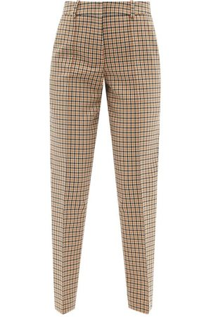 Another Tomorrow Women Formal Pants - Checked Cotton-blend Tapered-leg Trousers - Womens - Tan