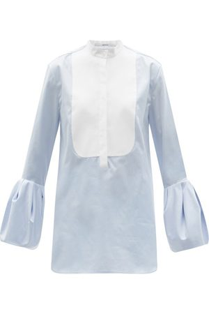 Another Tomorrow Women Blouses - Bell-sleeve Cotton-poplin Blouse - Womens