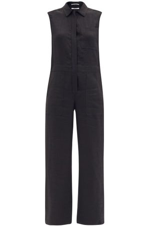 Another Tomorrow Women Jumpsuits - Patch-pocket Linen-blend Straight-leg Jumpsuit - Womens