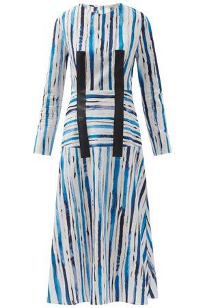Christopher Kane Brushstroke-stripe Cotton-canvas Midi Dress - Womens